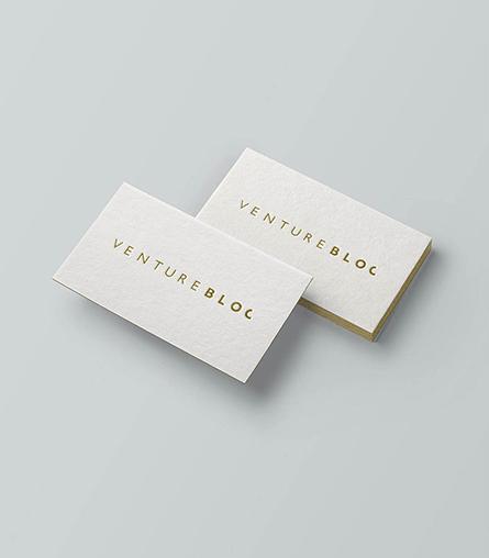 VentureBlog logo design on cards