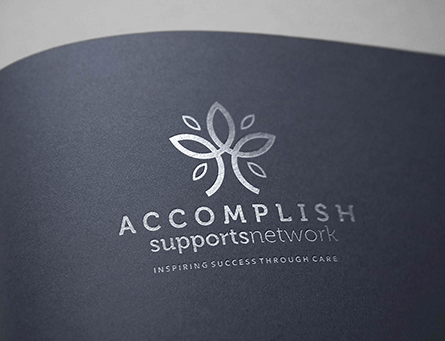 Accomplish supportsnetwork logo design